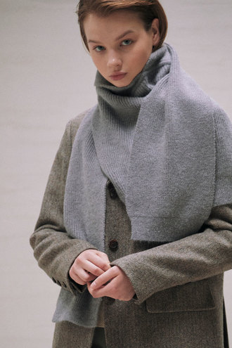 Mona Knit Muffler_Gray