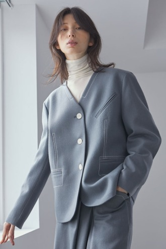 Merci No-collar Jacket_Grayish Blue