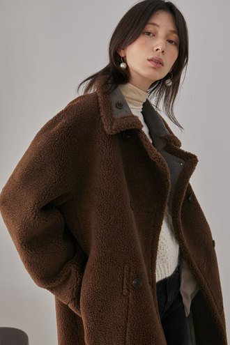 [12/14 예약배송]Blanche Reversible Long Shearing Coat_Dark Brown