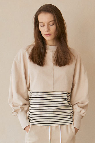 Joy Cropped Sweatshirt_Light Beige
