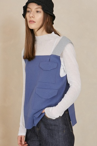 Soo Pocket Vest_Blue