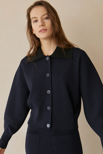[2/26 예약배송]Harman Wide-collar Ballon-sleeve Cardigan_Dark Navy