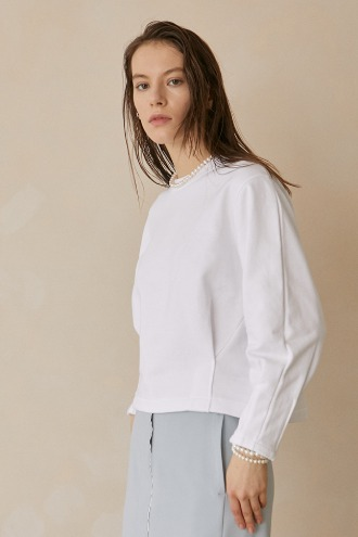 Lea Dart Sleeve Sweat Shirt_Off White
