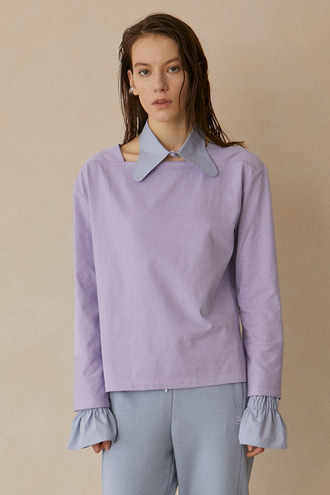 Camille Boat-neck T-Shirt_Light Violet