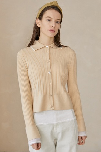 Meg Ribbed Cardigan_Beige