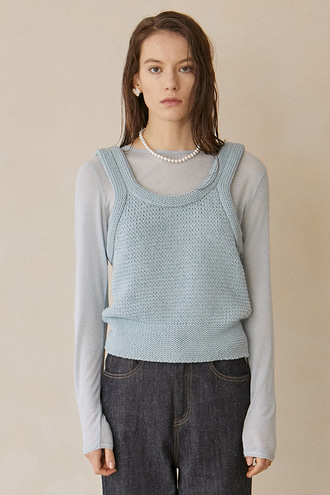 Betty Rope Knit Vest_Mint