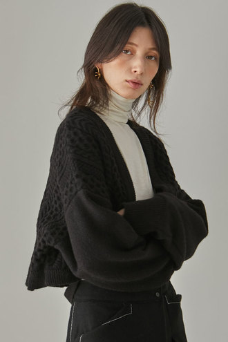 Maty Cable Cardigan_Black
