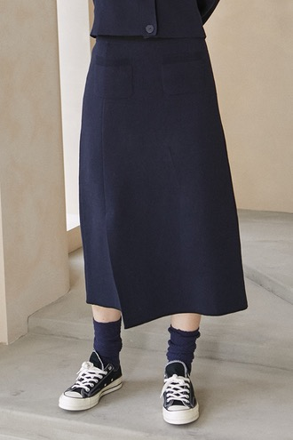 Harman Long Knitted Skirt_Dark Navy