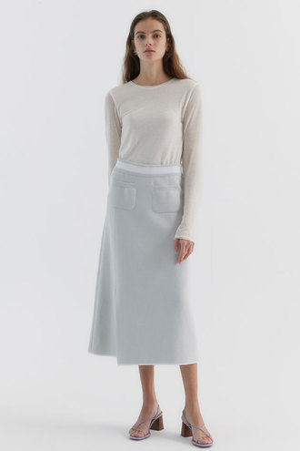 Harman Long Knitted Skirt_Light grey