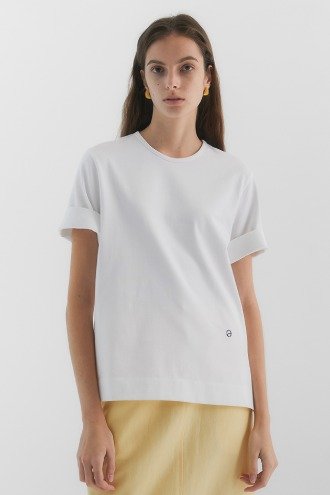 Molly Short Sleeves Basic Cotton T-shirt(4-Colors)