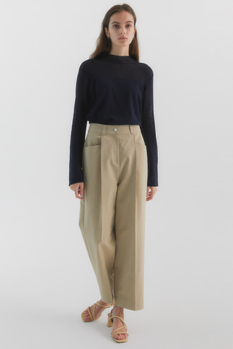 Sage Cotton Wide Pants_Beige