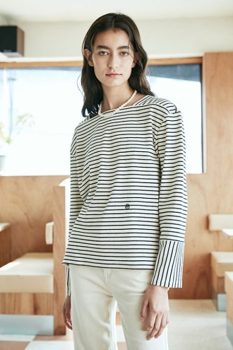 Camille Boat-neck T-Shirt_Oatmeal
